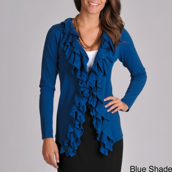 Grace Elements Women's V-neck Cascade Ruffle Sweater Cardigan