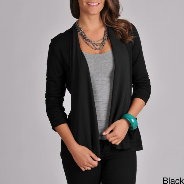 Grace Elements Women's Ruched Sleeve Draped Cardigan