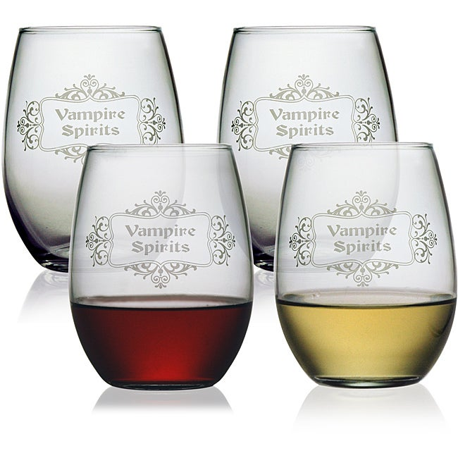 Halloween Vampire Spirits 21-oz Stemless Wine Glasses (Set of 4)