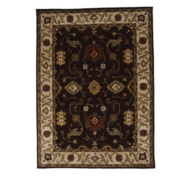 Hand-Tufted Tempest Dark Brown/Ivory Floral Area Rug (8' x 11') - Thumbnail 0