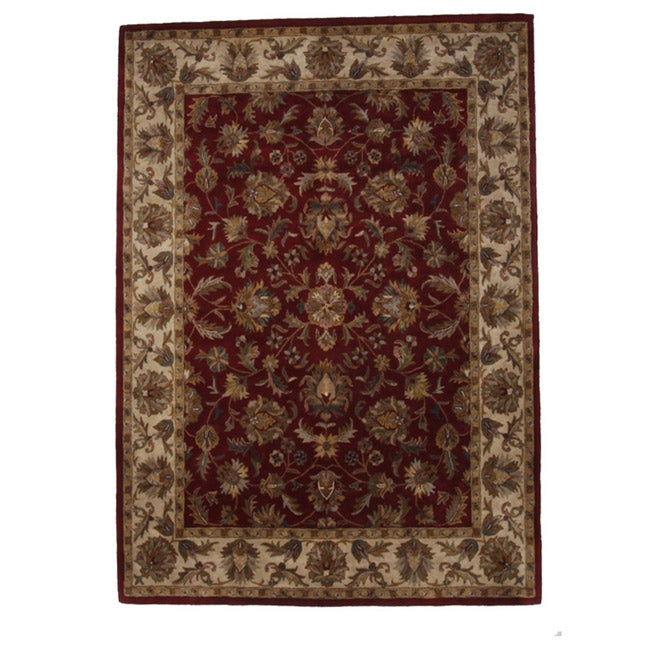 Hand-Tufted Tempest Red/Beige Area Rug (8u0026#39; x 10u0026#39;) - Free Shipping Today - Overstock.com - 14485239
