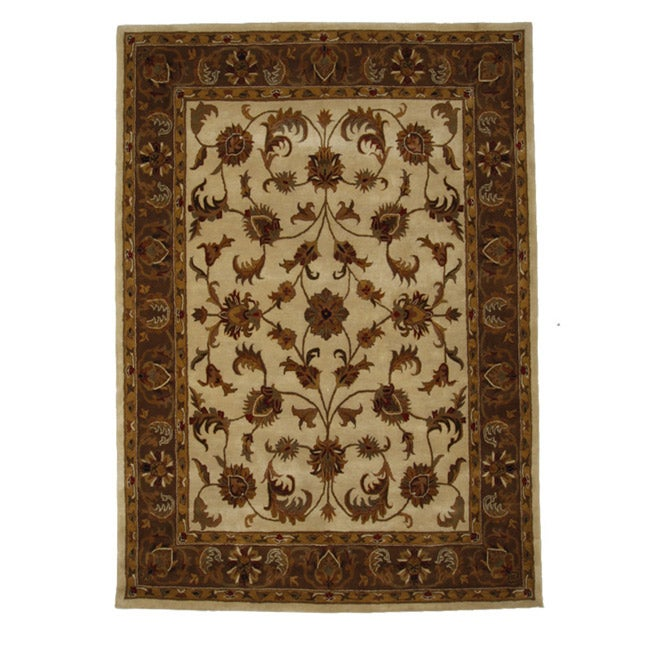Hand-Tufted Tempest Ivory/ Brown Area Rug (8' x 11')