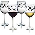 Halloween Bats Wine Glasses (Set of 4)