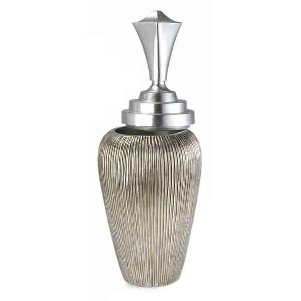 Silver Box Polyresin Urn Accent Piece