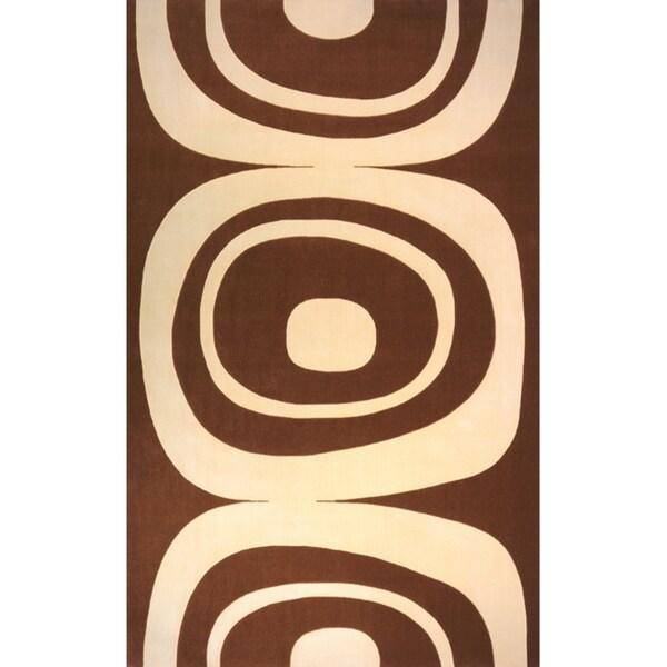 Power-Loomed Soho Brown Wool Rug (9' 6 x 13' 6)