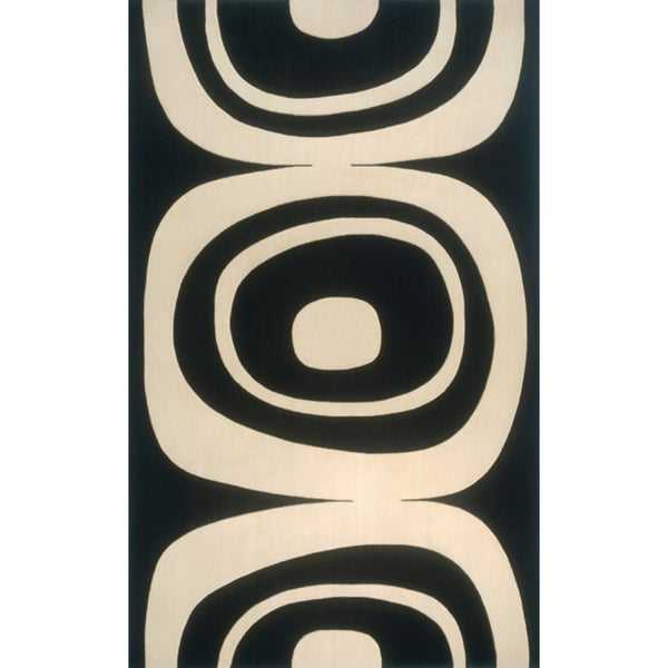 "Soho Frames Power-Loomed Black Wool Rug (9'6"" x 13'6"")"