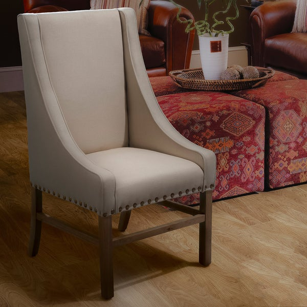 Daphne Studded Linen Accent Chair by Christopher Knight Home