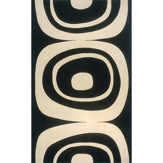 Soho Frames Power-Loomed Black Wool Rug (3' x 5')