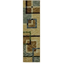 Mohawk Home Connexus Overlapping Squares Blue (2' x 8')