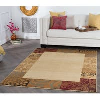 Alise Rhythm Transitional Beige Area Rug (7'6 x 9'10)