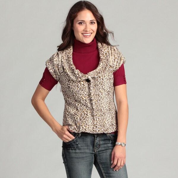 LIve A Little Women's Cheeta Faux Fur Top
