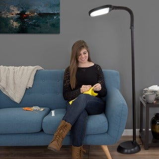 Natural Full Spectrum Sunlight Therapy Reading & Crafting Floor Lamp by Lavish Home (Black) - Adjustable Gooseneck