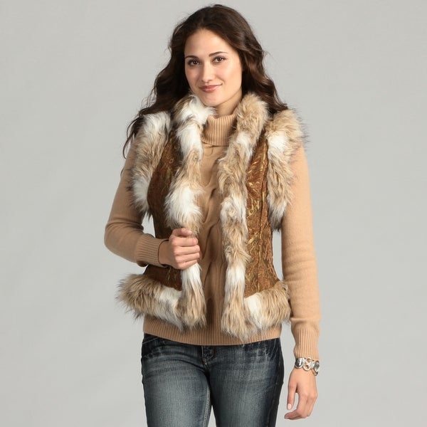 Live A Little Women's Faux Fur Trim Vest