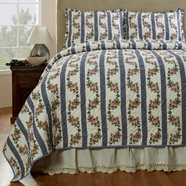 Celine Handmade 3-piece Cornflower Blue Quilt Set