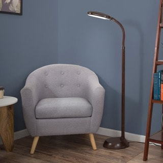 Natural Full Spectrum Sunlight Therapy Reading Floor Lamp by Windsor Home (Dark Woodgrain, 5 Feet)