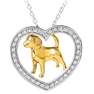 ASPCA Sterling Silver with Yellow Gold Plate 0.16CTtw Diamond Accent Heart Dog Necklace (I-J, I2-I3)