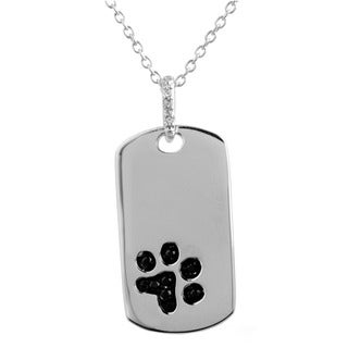 Tender Voices Sterling Silver Diamond Accent Paw Tag Pendant
