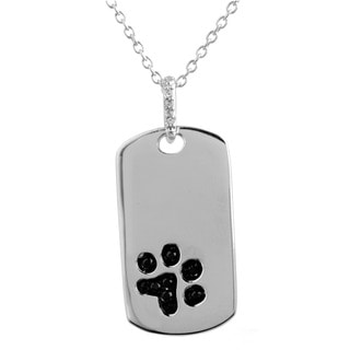 ASPCA Tender Voices Sterling Silver 1/10CTtw Diamond Accent Dog Tag Necklace in (I-J, Black, I2-I3)