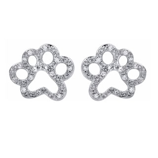 ASPCA Tender Voices Sterling Silver Paw Earrings Diamond Accent