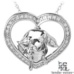 ASPCA Tender Voices Silver 1/8ct TDW Diamond Chihuahua Necklace (I-J, I2-I3)