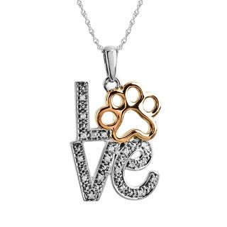 ASPCA Tender Voices Sterling Silver 'Love' Paw with Diamond Accent Necklace (I-J, I2-I3)