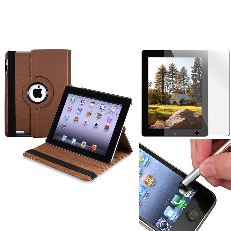 Brown Swivel Case/ Screen Protector/ Silver Stylus for Apple iPad 3