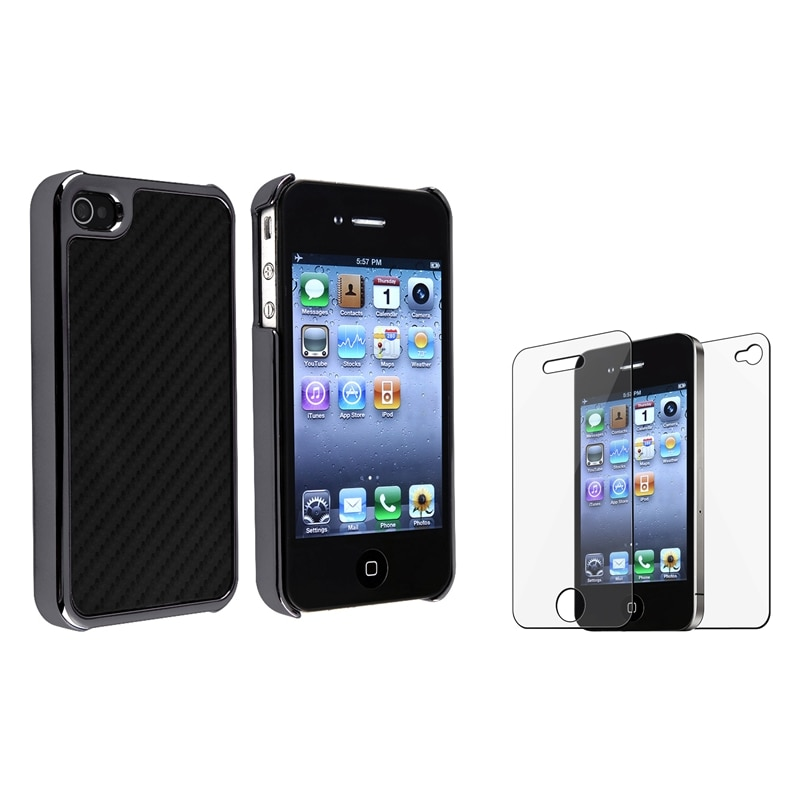 Carbon Fiber Case/ Front/ Back LCD Protector for Apple iPhone 4/ 4S