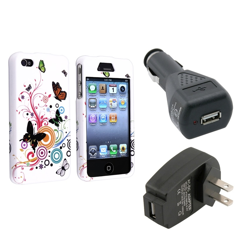 INSTEN Autumn Flower Phone Case Cover/ Car Charger/ Travel Charger for Apple iPhone 4/ 4S