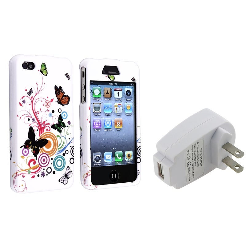 INSTEN Autumn Flower Phone Case Cover/ Travel Charger for Apple iPhone 4/ 4S