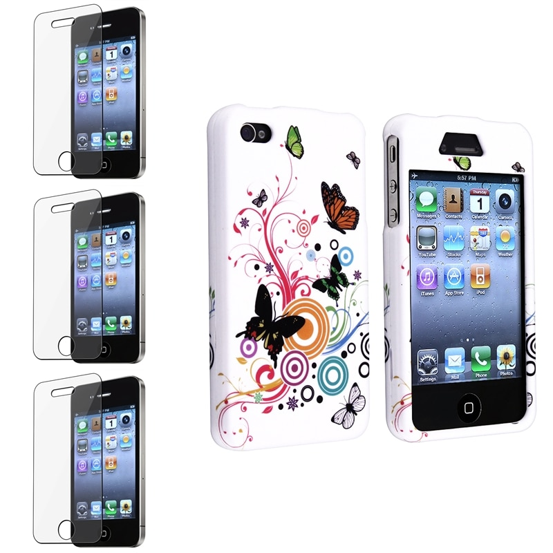 INSTEN Autumn Flower Protector Phone Case Cover/ Screen Protector Set for Apple iPhone 4/ 4S