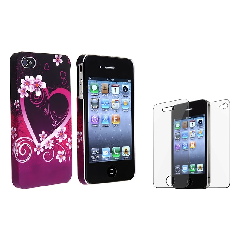 INSTEN Phone Case Cover/ Front/ Back Screen Protector for Apple iPhone 4/ 4S