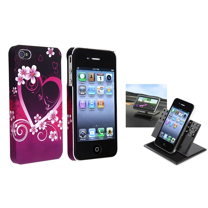 INSTEN Purple Heart Flower Phone Case Cover/ Dash Phone Holder for Apple iPhone 4/ 4S