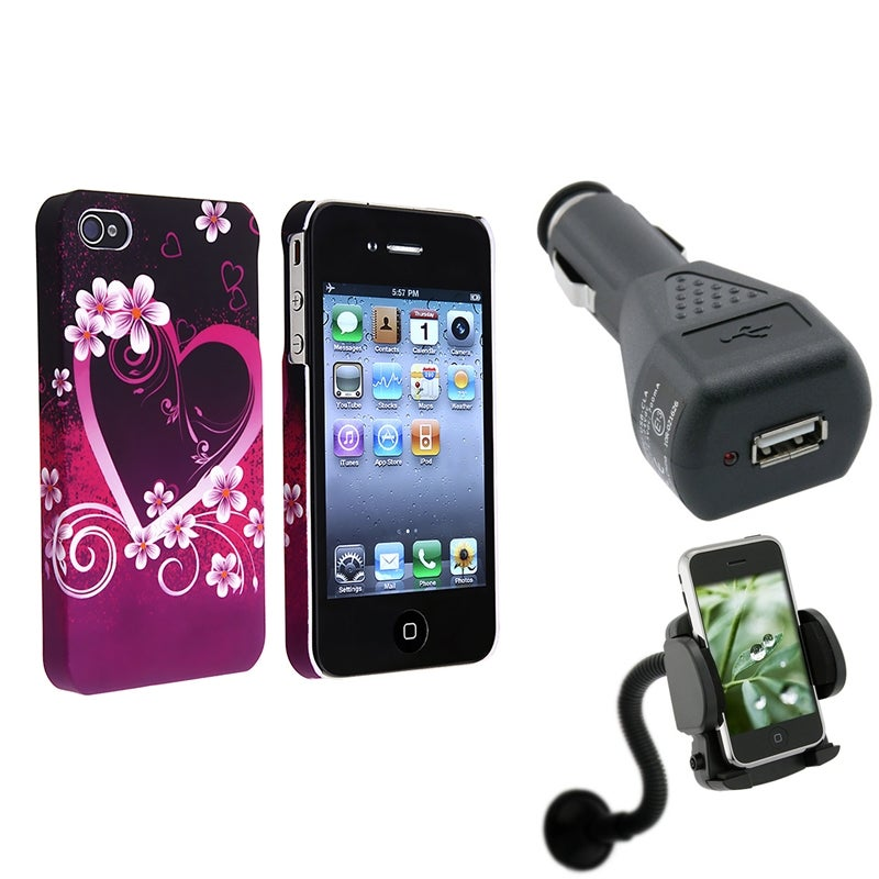 INSTEN Purple Heart/ Flower Protective Case Cover/ Phone Holder/ Charger for Apple iPhone 4/ 4S