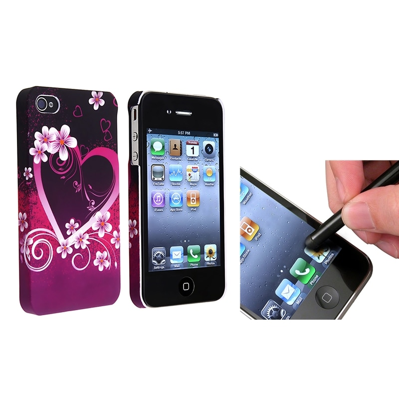 INSTEN Purple Heart Flower Phone Case Cover/ Stylus for Apple iPhone 4/ 4S