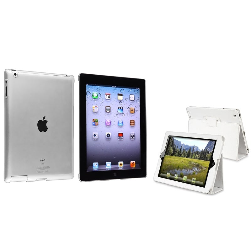INSTEN Crystal Tablet Case Cover/ White Leather Tablet Case Cover for Apple iPad 2/ 3/ New iPad/ 4