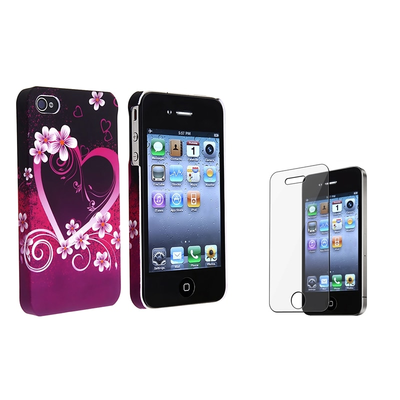 INSTEN Purple Heart with Flower Phone Case Cover/ LCD Protector for Apple iPhone 4/ 4S