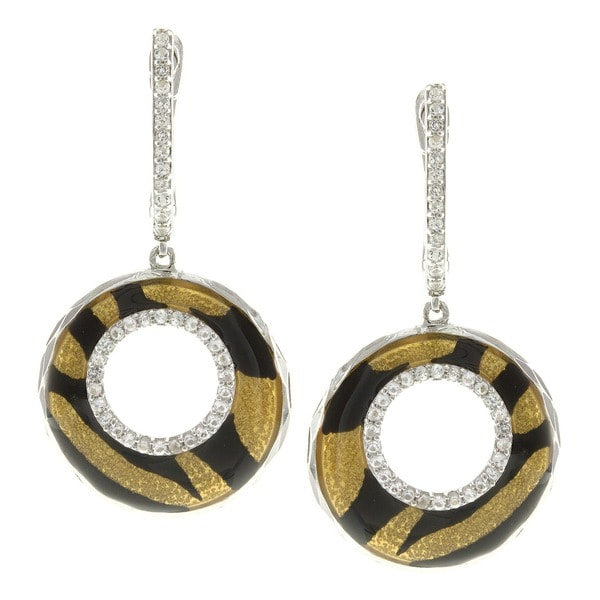 Pearlz Ocean Animal Print Dangle Earrings with White Topaz Accents