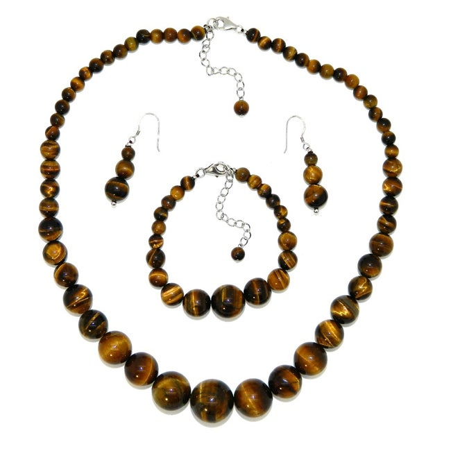 Pearlz Ocean Sterling Silver Yellow Tiger's Eye Journey Jewelry Set - Thumbnail 0