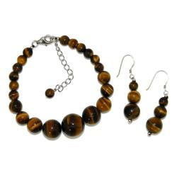 Pearlz Ocean Sterling Silver Yellow Tiger's Eye Journey Jewelry Set - Thumbnail 1