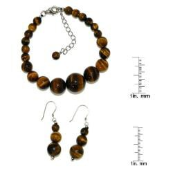Pearlz Ocean Sterling Silver Yellow Tiger's Eye Journey Jewelry Set - Thumbnail 2