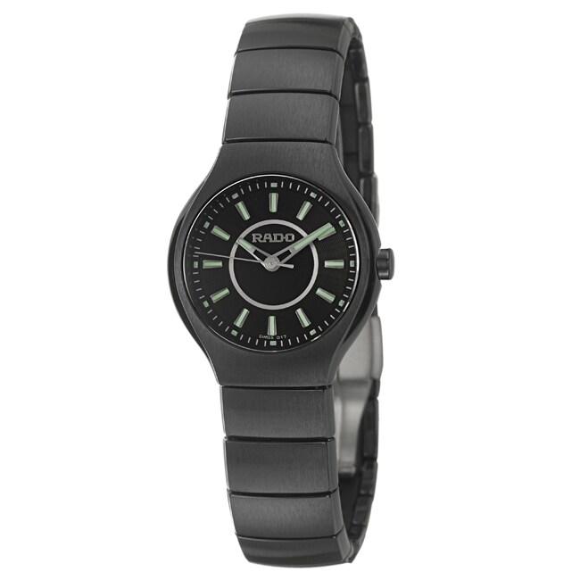 Rado Women's 'Rado True' Black Ceramic Swiss Watch