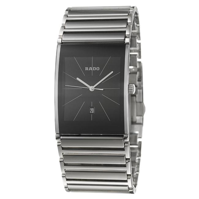 Rado Men's 'Integral' Stainless-Steel Black-Dial Watch