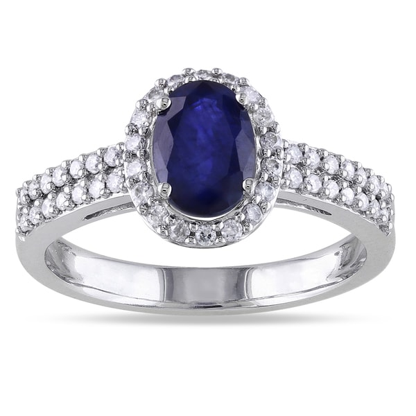 Miadora 10k Gold Sapphire and 1/3ct TDW Diamond Ring (G-H, I1-I2)