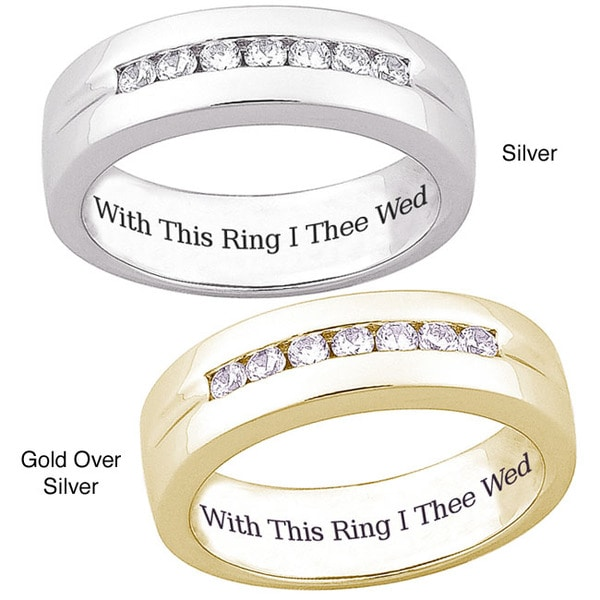 Sterling Silver or 18k Gold over Sterling Silver 'With This Ring I Thee Wed' Engraved CZ Wedding Ban