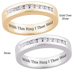 Sterling Silver or 18k Gold-over-Sterling Silver 'With This Ring I Thee Wed' Engraved Pave-set CZ We (More options available)