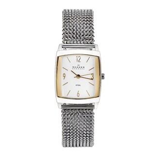 Skagen Women's White-Dial Stainless-Steel Stretch Watch