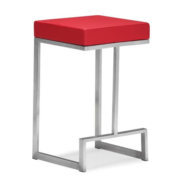 Zuo Darwen Red Leatherette 24-inch High Counter Chairs (Set of 2)
