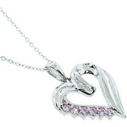 Eternally Haute Sterling Silver Pink Cubic Zirconia Heart Necklace - Thumbnail 1