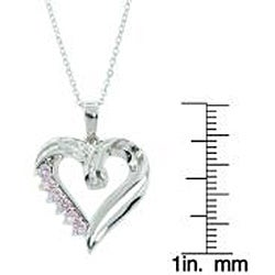 Eternally Haute Sterling Silver Pink Cubic Zirconia Heart Necklace - Thumbnail 2