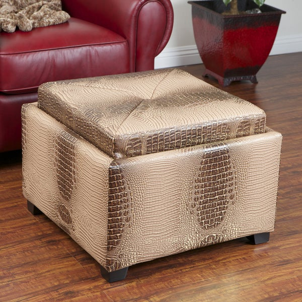 Andrea Gold/ Brown Croc Tray-top Storage Ottoman by Christopher Knight Home